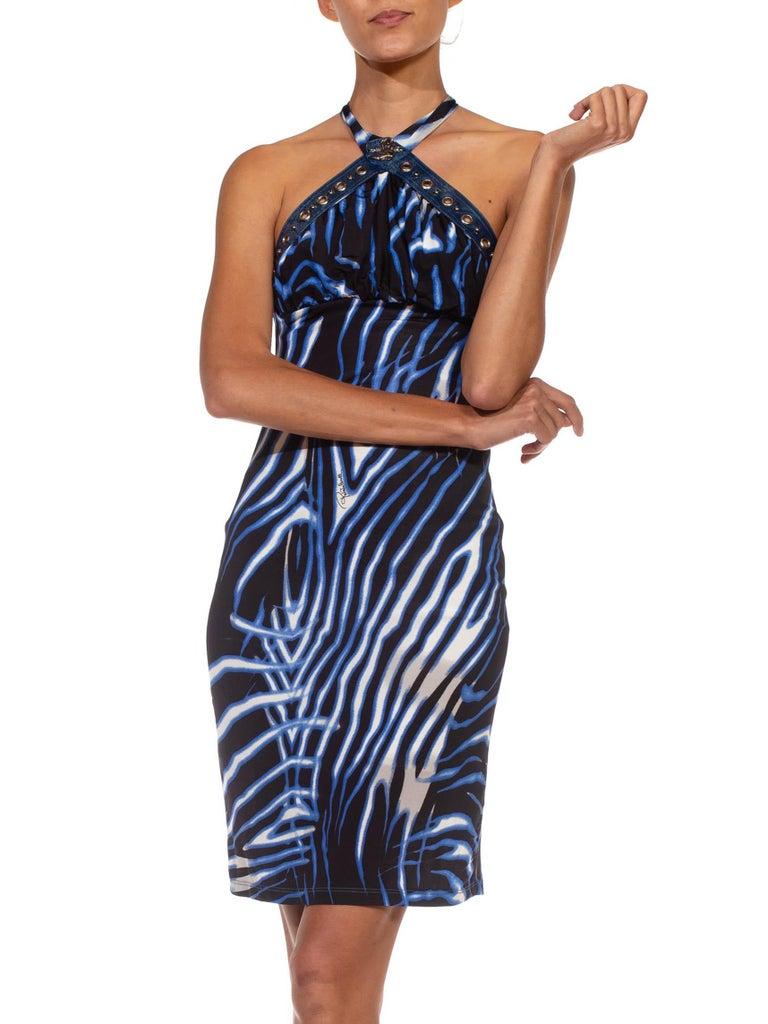 1990S CAVALLI Black & Blue Animal Print Nylon Blend Halter Neck Dress For Sale 1