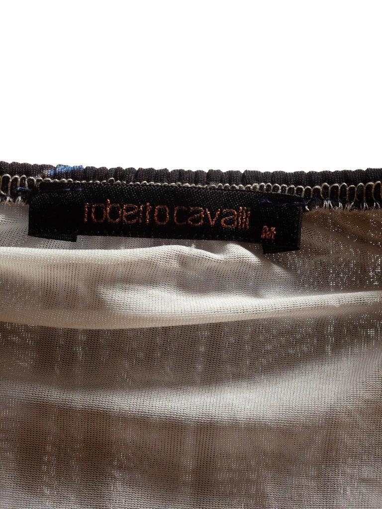 1990S CAVALLI Black & Blue Animal Print Nylon Blend Halter Neck Dress For Sale 4