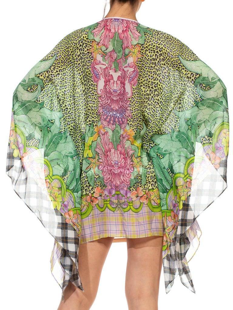 1990S CAVALLI Green & Pink Multicolored Silk Tunic Kaftan Top For Sale 6