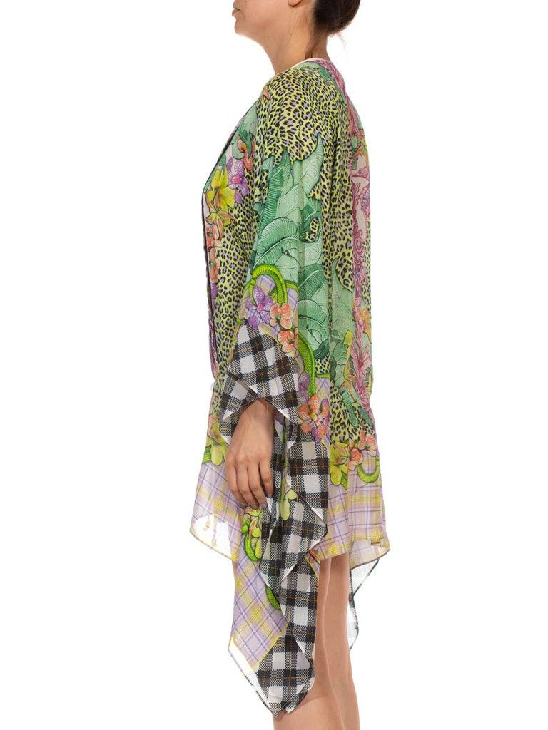 Brown 1990S CAVALLI Green & Pink Multicolored Silk Tunic Kaftan Top For Sale