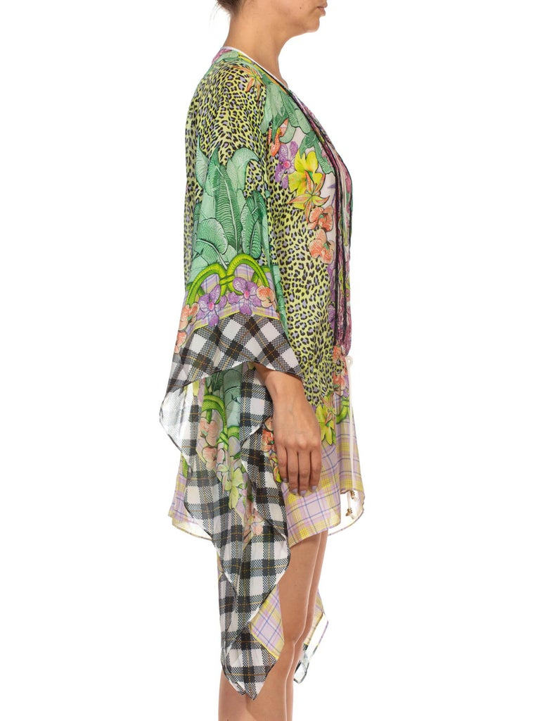 1990S CAVALLI Green & Pink Multicolored Silk Tunic Kaftan Top In Excellent Condition For Sale In New York, NY