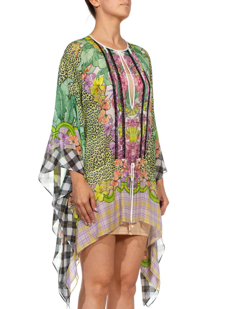 Women's 1990S CAVALLI Green & Pink Multicolored Silk Tunic Kaftan Top For Sale
