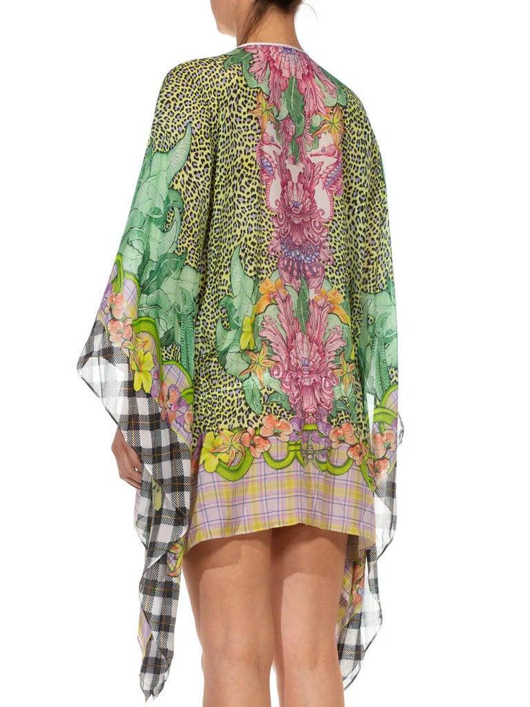 1990S CAVALLI Green & Pink Multicolored Silk Tunic Kaftan Top For Sale 1