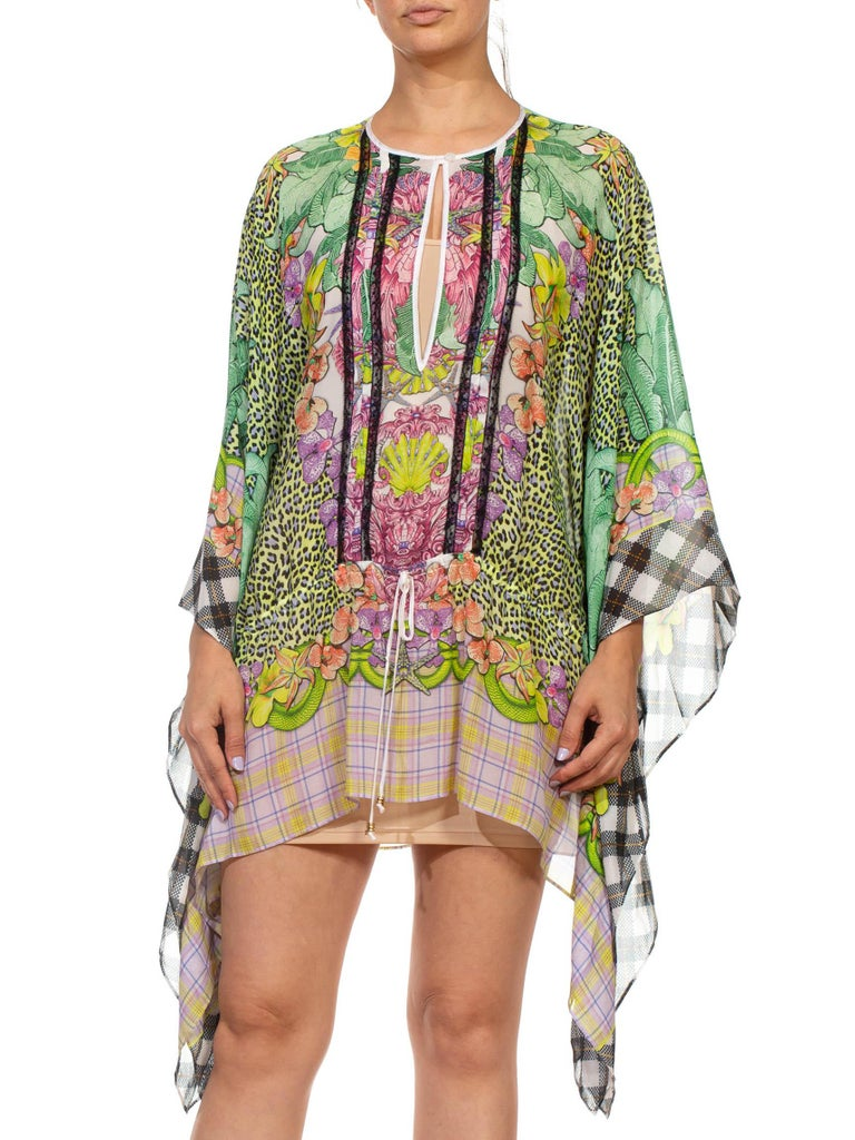 1990S CAVALLI Green & Pink Multicolored Silk Tunic Kaftan Top For Sale 2