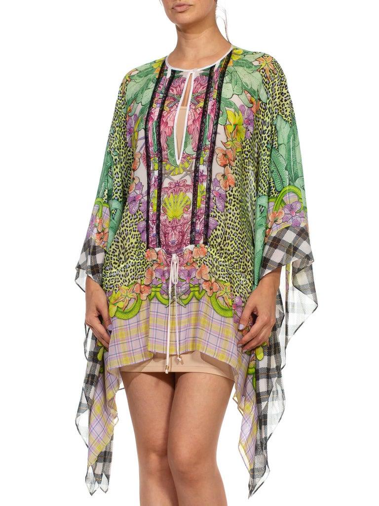 1990S CAVALLI Green & Pink Multicolored Silk Tunic Kaftan Top For Sale 4