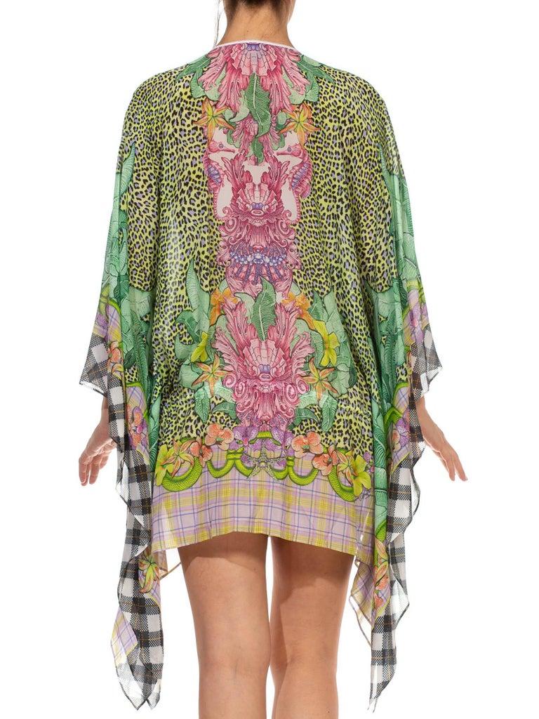1990S CAVALLI Green & Pink Multicolored Silk Tunic Kaftan Top For Sale 5