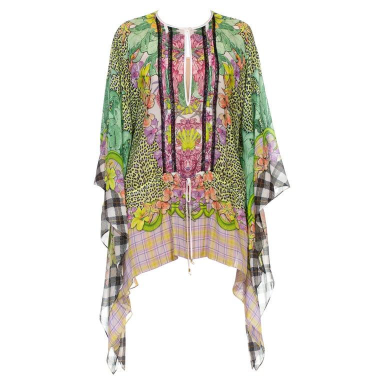 1990S CAVALLI Green & Pink Multicolored Silk Tunic Kaftan Top For Sale