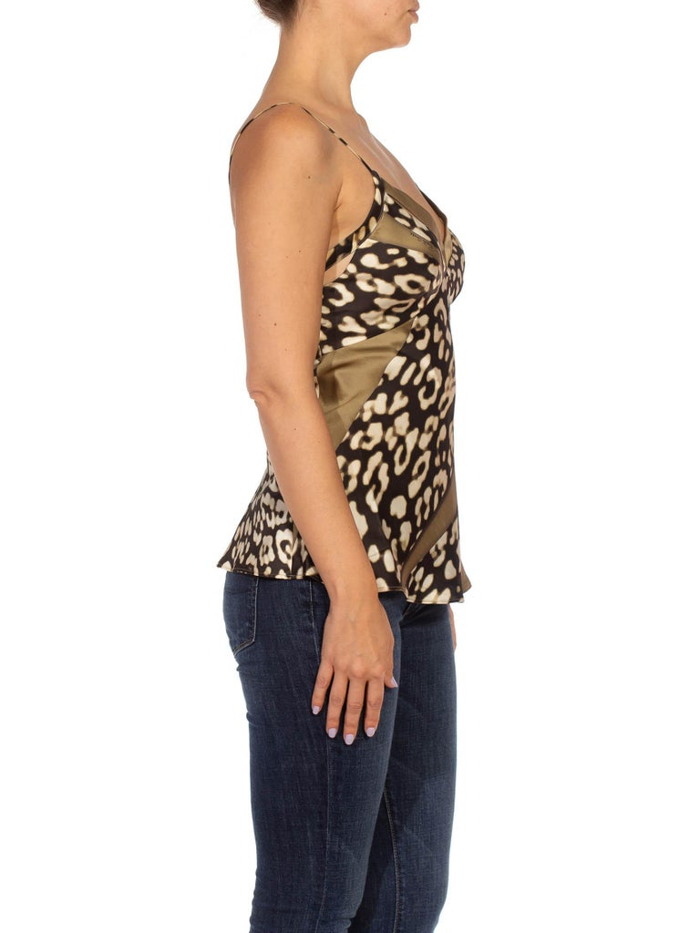 1990S CAVALLI Olive Green Animal Print Silk Camisole In Excellent Condition For Sale In New York, NY
