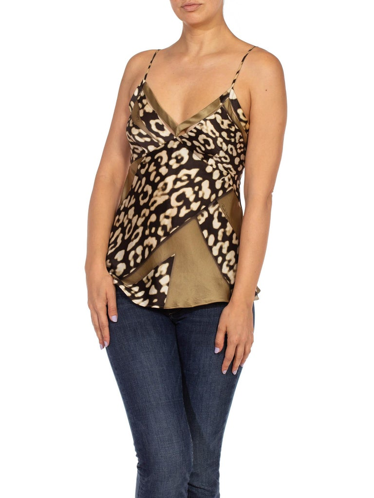 Women's 1990S CAVALLI Olive Green Animal Print Silk Camisole For Sale