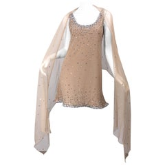1990s CD Greene Couture Nude Beige Rhinestone Crystal Vintage 90s Dress + Shawl