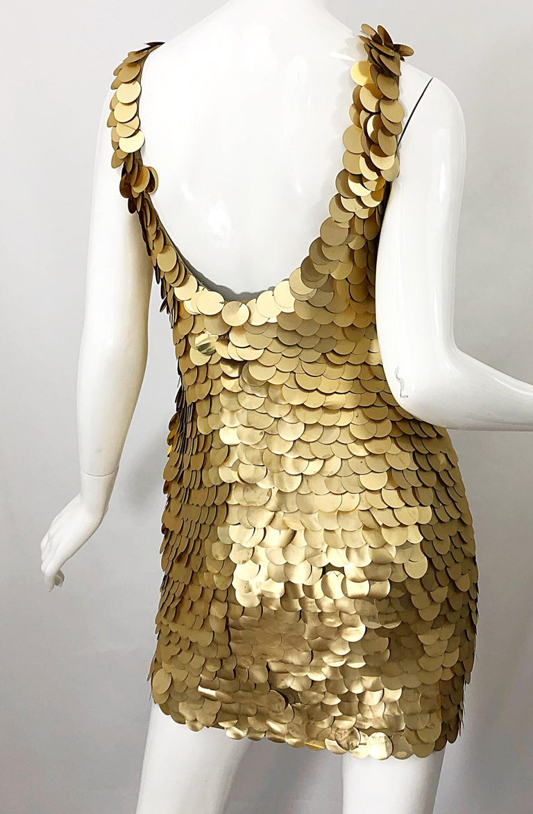 1990s CD GREENE for Bergdorf Goodman Gold Pailettes Sequin Vintage Bodycon Dress For Sale 6