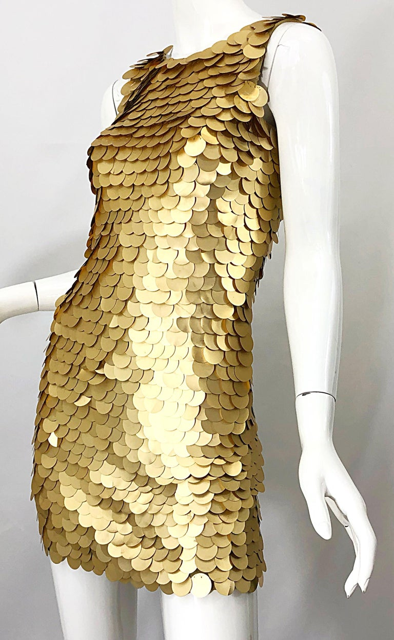 1990s CD GREENE for Bergdorf Goodman Gold Pailettes Sequin Vintage Bodycon Dress For Sale 7
