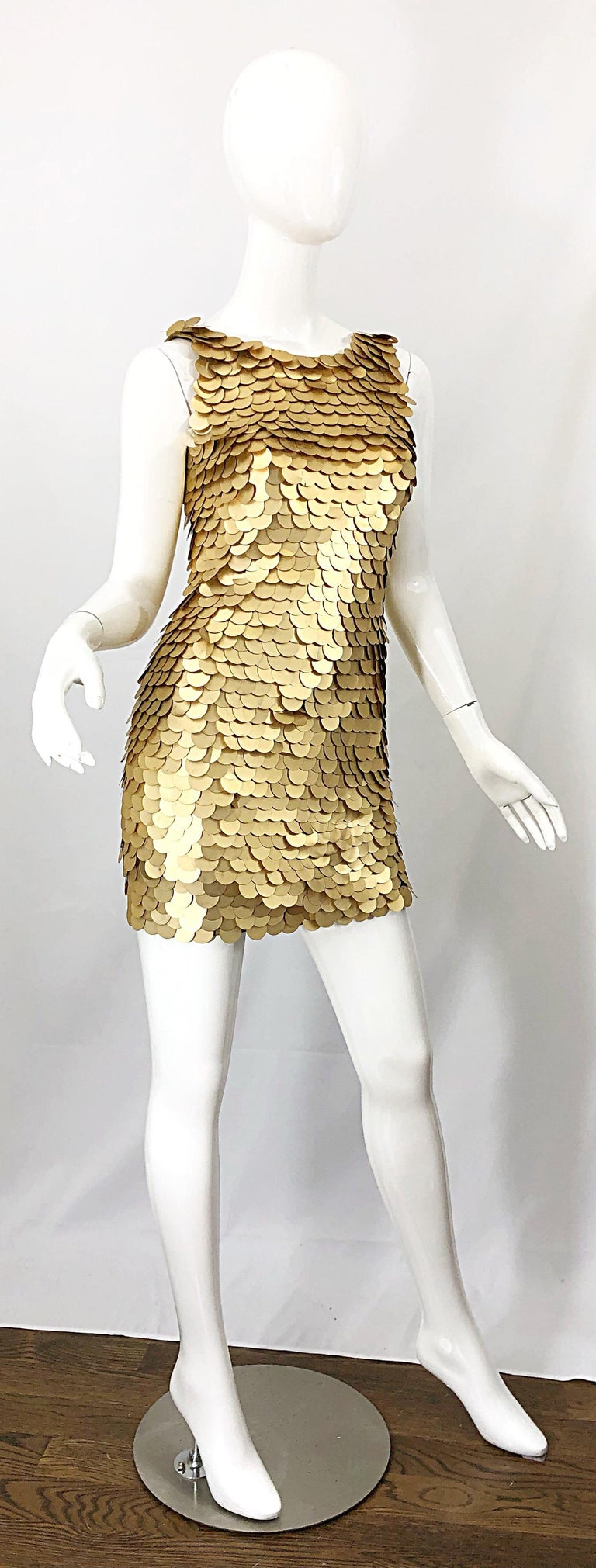 1990s CD GREENE for Bergdorf Goodman Gold Pailettes Sequin Vintage Bodycon Dress For Sale 8