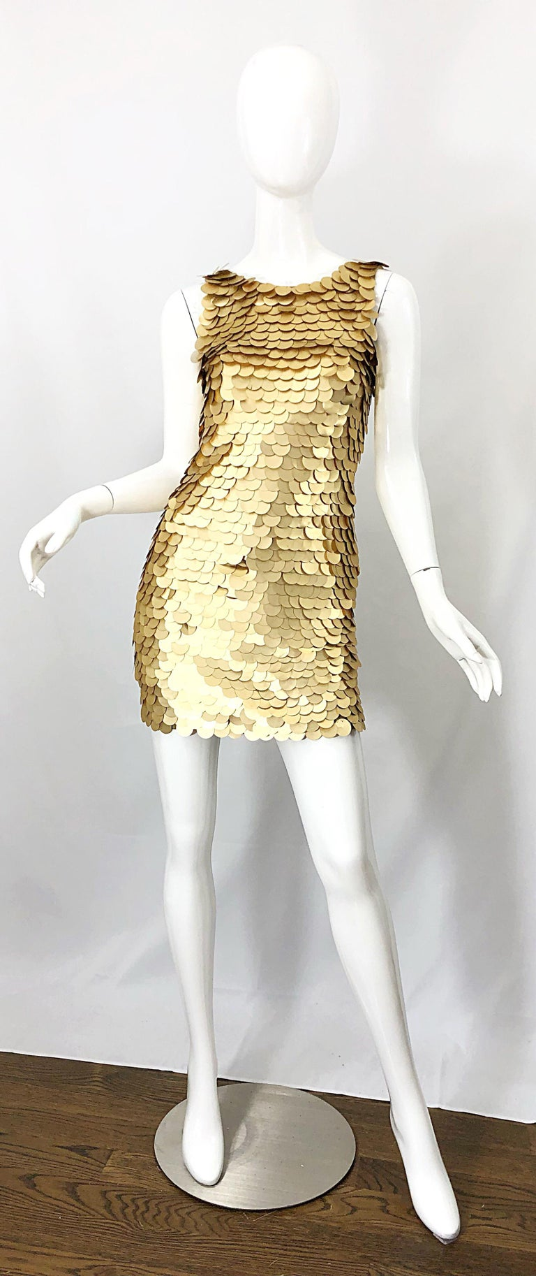 1990s CD GREENE for Bergdorf Goodman Gold Pailettes Sequin Vintage Bodycon Dress For Sale 10