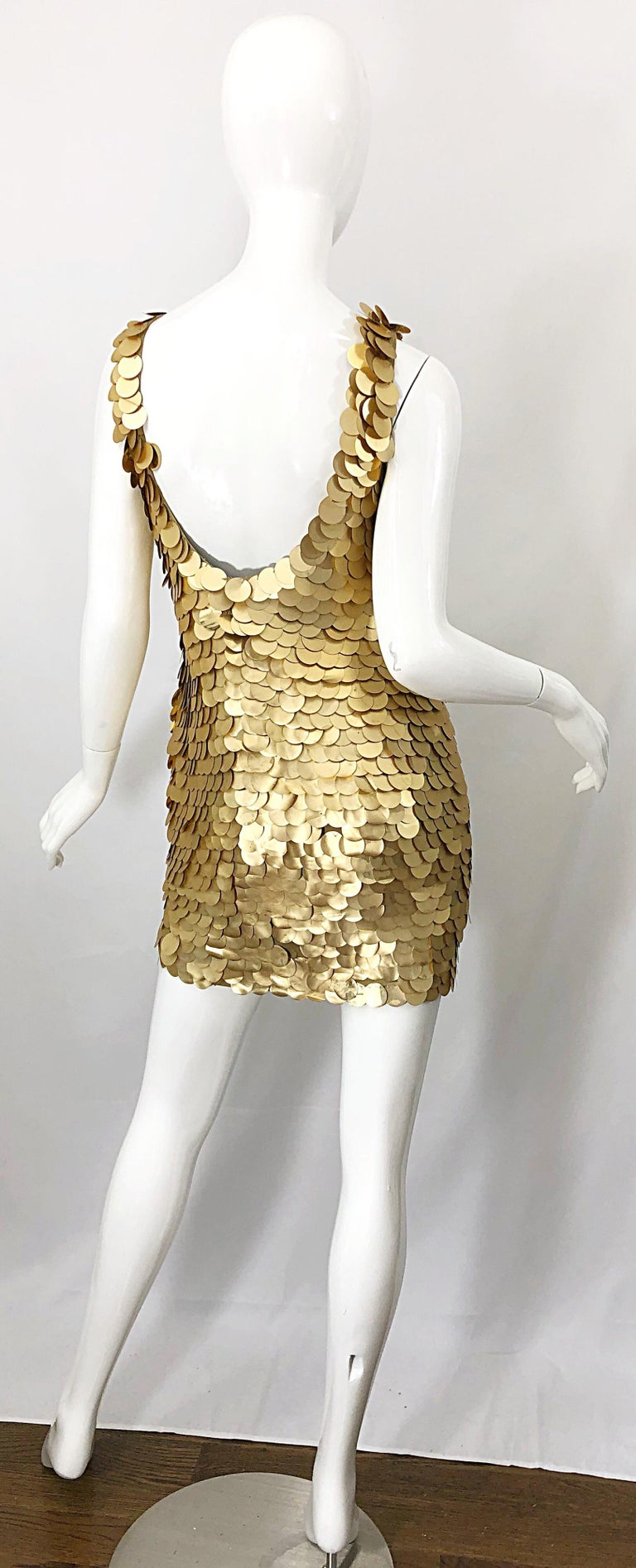 1990s CD GREENE for Bergdorf Goodman Gold Pailettes Sequin Vintage Bodycon Dress In Good Condition For Sale In Chicago, IL