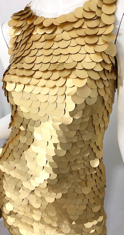 Women's 1990s CD GREENE for Bergdorf Goodman Gold Pailettes Sequin Vintage Bodycon Dress For Sale