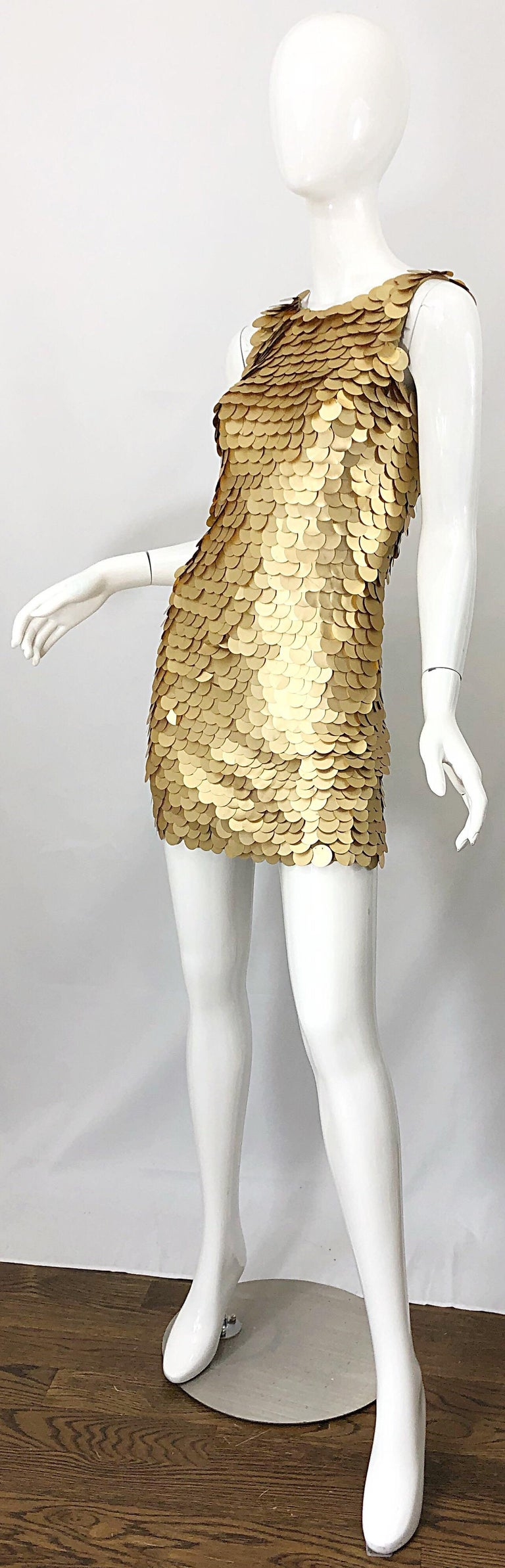 1990s CD GREENE for Bergdorf Goodman Gold Pailettes Sequin Vintage Bodycon Dress For Sale 1