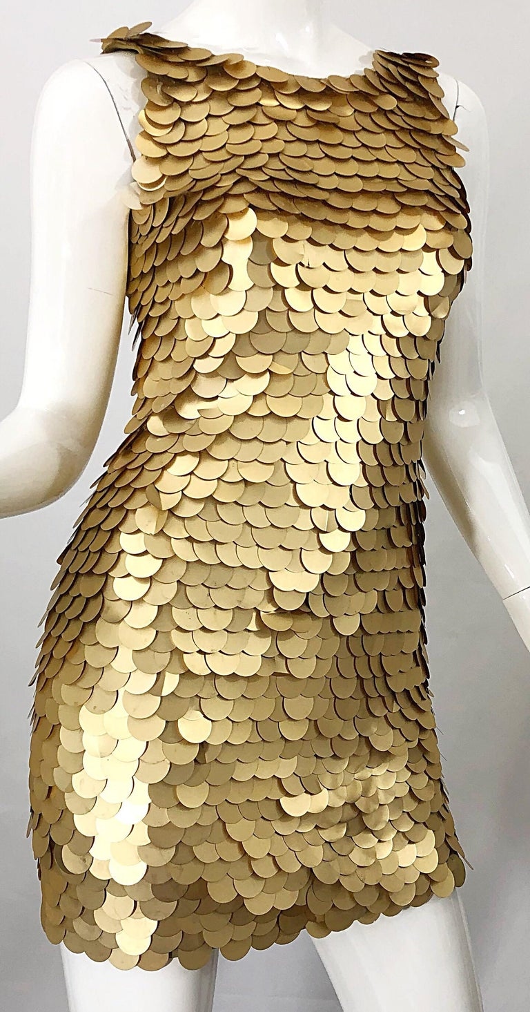 1990s CD GREENE for Bergdorf Goodman Gold Pailettes Sequin Vintage Bodycon Dress For Sale 2