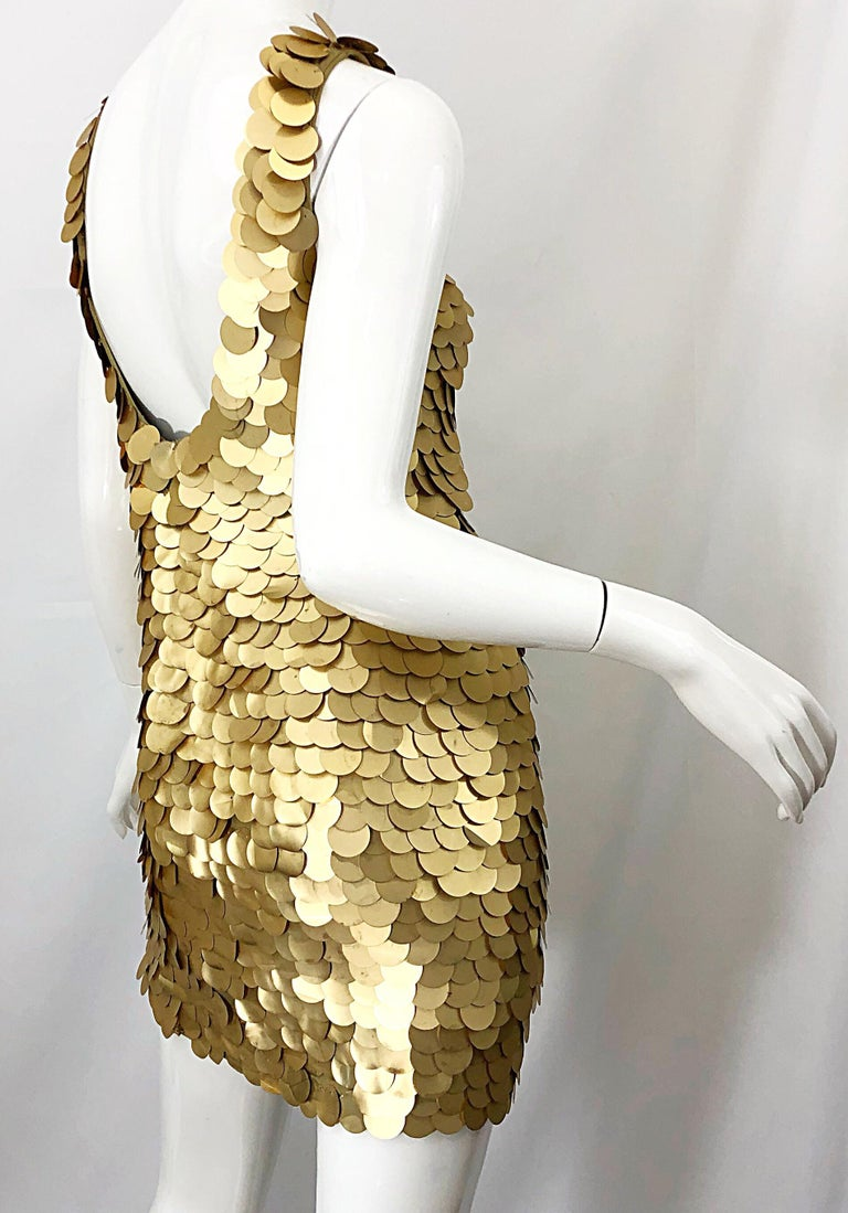 1990s CD GREENE for Bergdorf Goodman Gold Pailettes Sequin Vintage Bodycon Dress For Sale 3