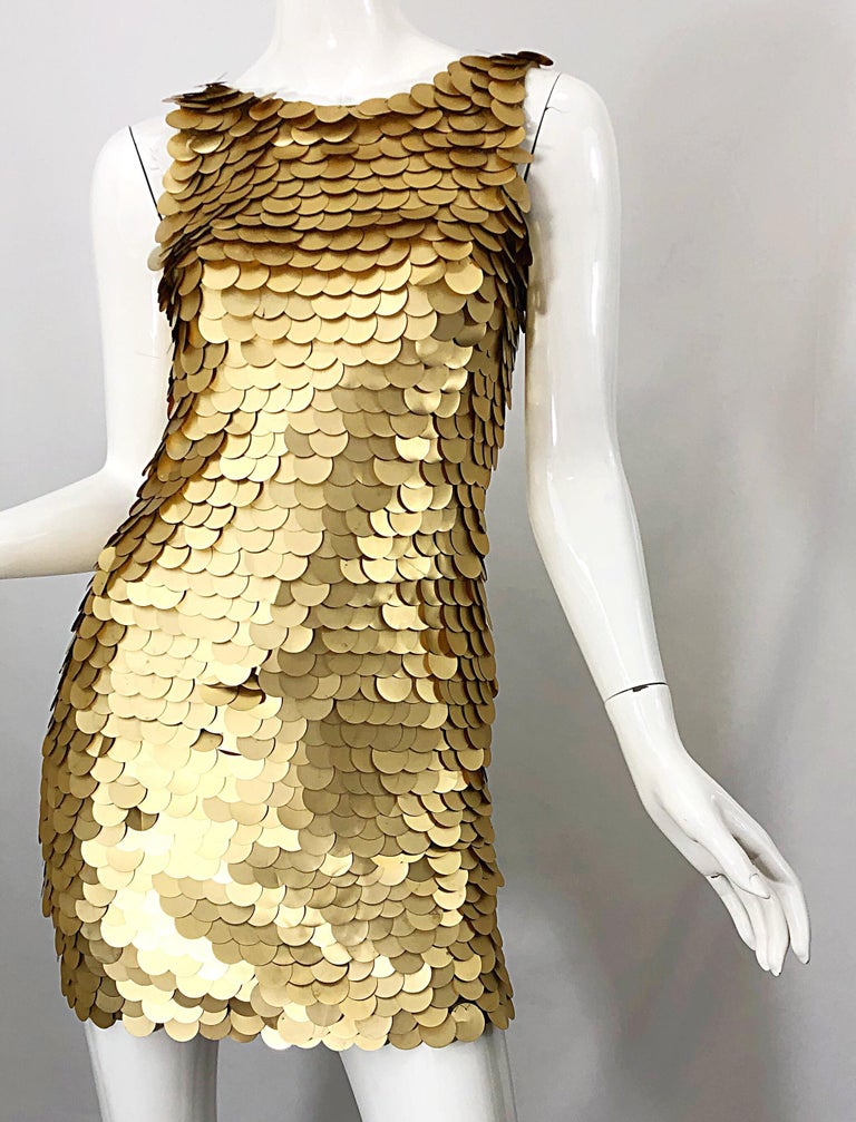 1990s CD GREENE for Bergdorf Goodman Gold Pailettes Sequin Vintage Bodycon Dress For Sale 4