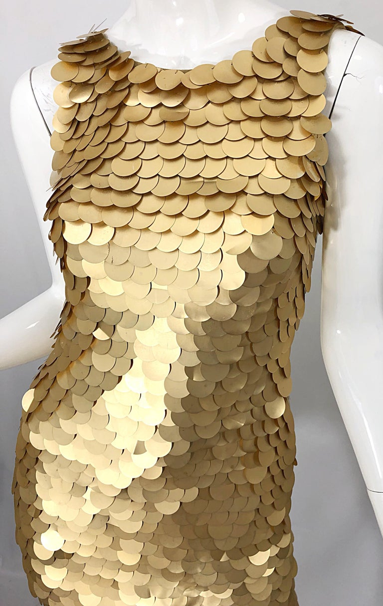 1990s CD GREENE for Bergdorf Goodman Gold Pailettes Sequin Vintage Bodycon Dress For Sale 5