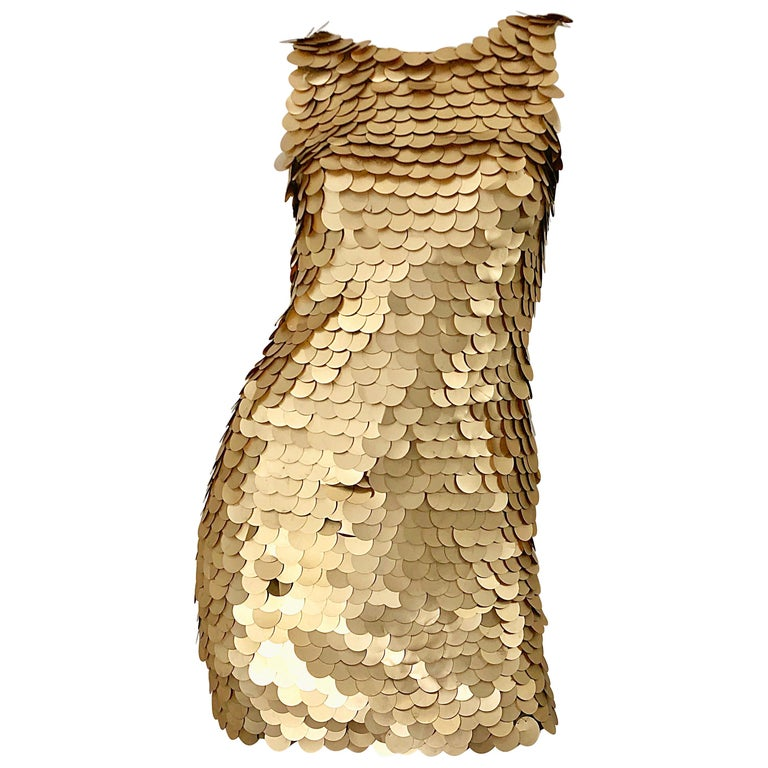 1990s CD GREENE for Bergdorf Goodman Gold Pailettes Sequin Vintage Bodycon Dress For Sale