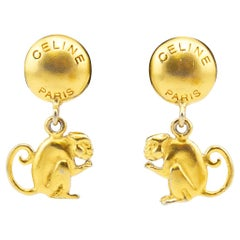 1990s Celine Gilt Metal Monkey Earrings