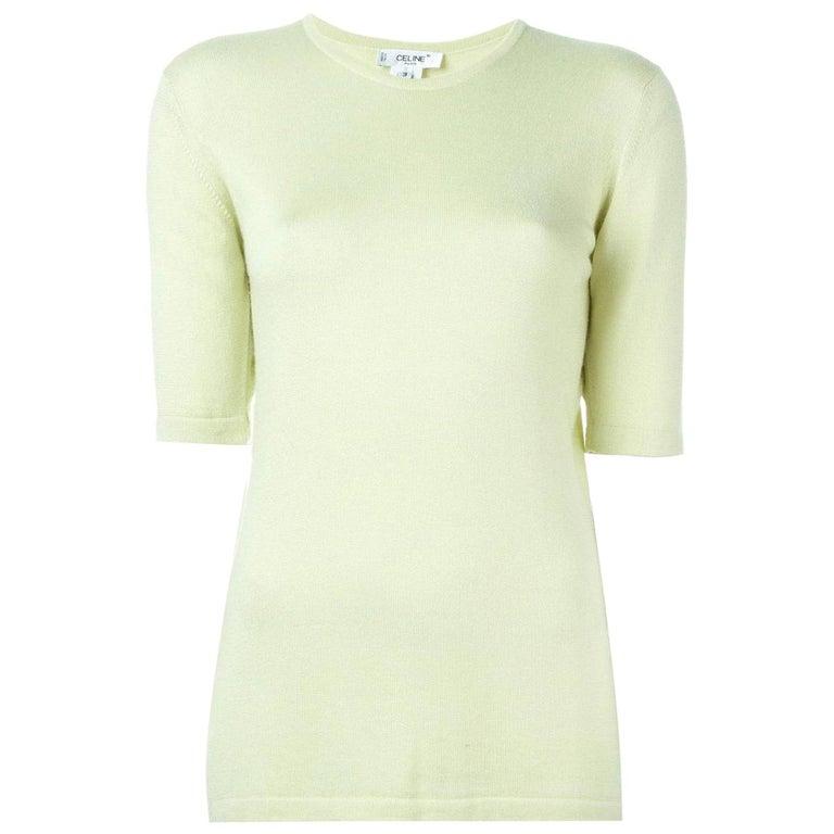 1990s Céline Mint Green Knit Top For Sale