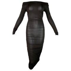 S/S 2001 Celine Sheer Brown Ruched Off Shoulder Pin-Up Wiggle Dress