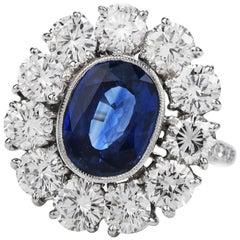 1990s Certified 4.10 Carat Ceylon Sapphire Diamond Platinum Flower Ring