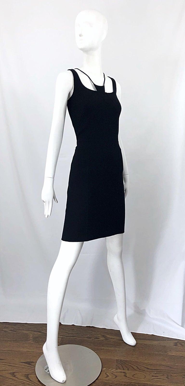 1990s Chado Ralph Rucci Rare Black Wool ' Bondage ' Vintage 90s Dress Size 4  For Sale 6