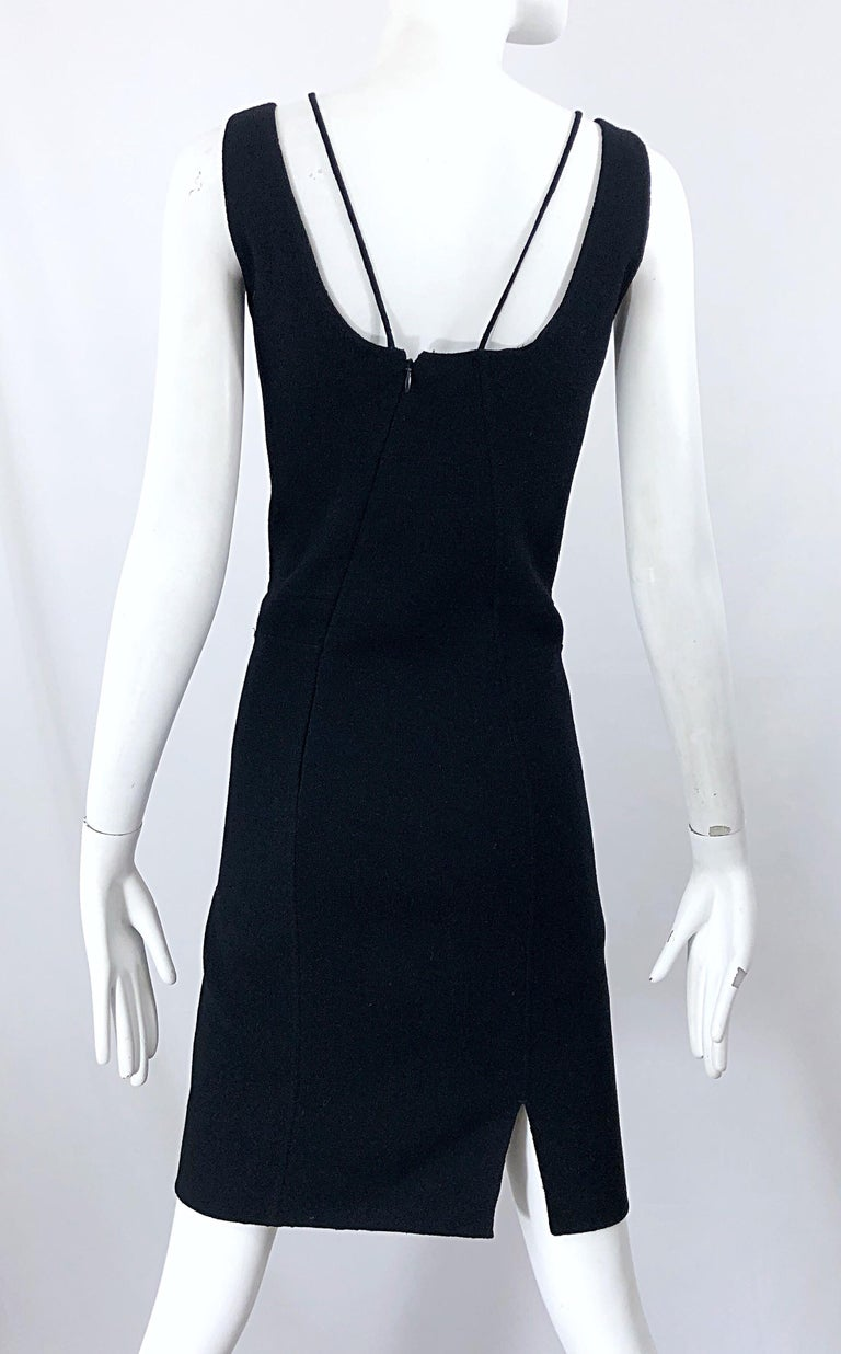 1990s Chado Ralph Rucci Rare Black Wool ' Bondage ' Vintage 90s Dress Size 4  For Sale 7