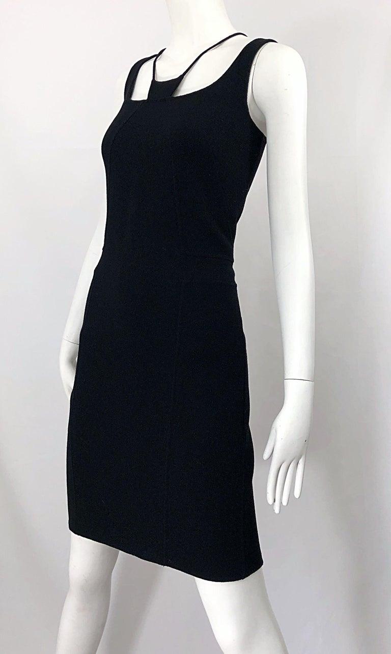 1990s Chado Ralph Rucci Rare Black Wool ' Bondage ' Vintage 90s Dress Size 4  For Sale 8