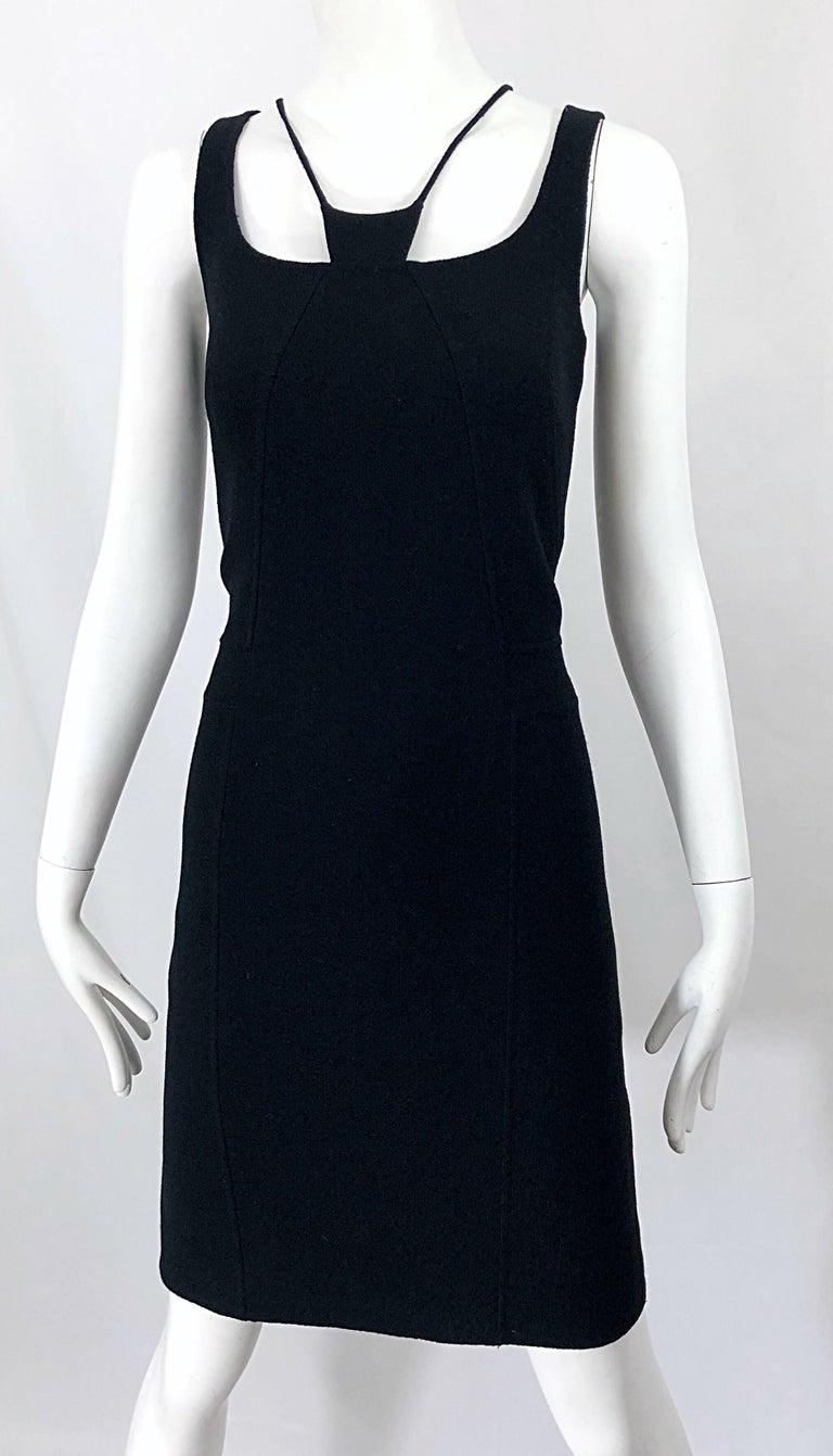 1990s Chado Ralph Rucci Rare Black Wool ' Bondage ' Vintage 90s Dress Size 4  For Sale 10