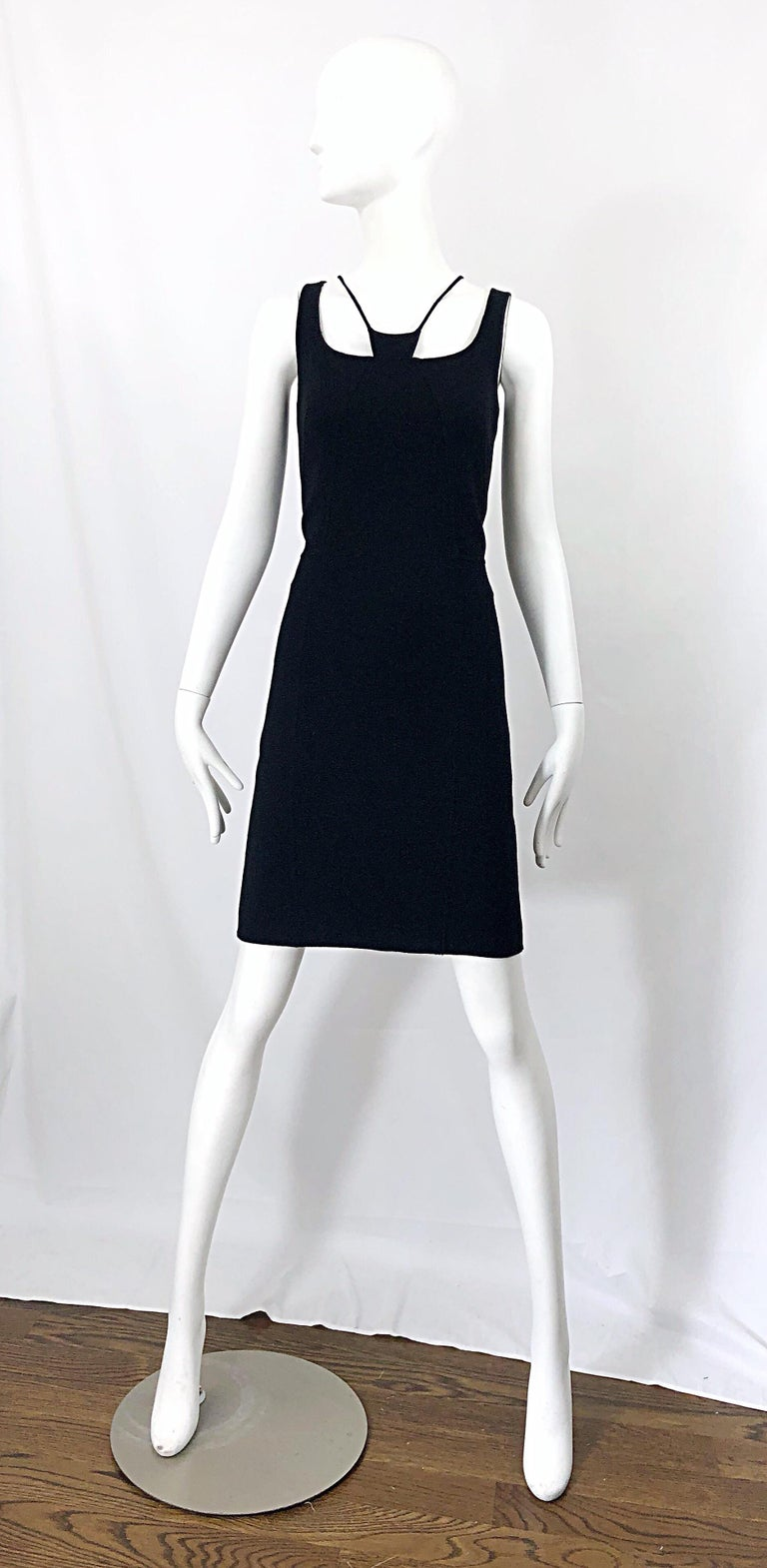 1990s Chado Ralph Rucci Rare Black Wool ' Bondage ' Vintage 90s Dress Size 4  For Sale 11