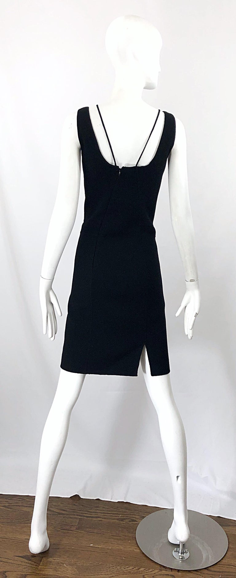 1990s Chado Ralph Rucci Rare Black Wool ' Bondage ' Vintage 90s Dress Size 4  In Excellent Condition For Sale In Chicago, IL