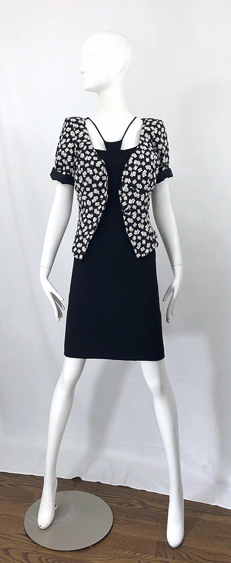 1990s Chado Ralph Rucci Rare Black Wool ' Bondage ' Vintage 90s Dress Size 4  For Sale 2