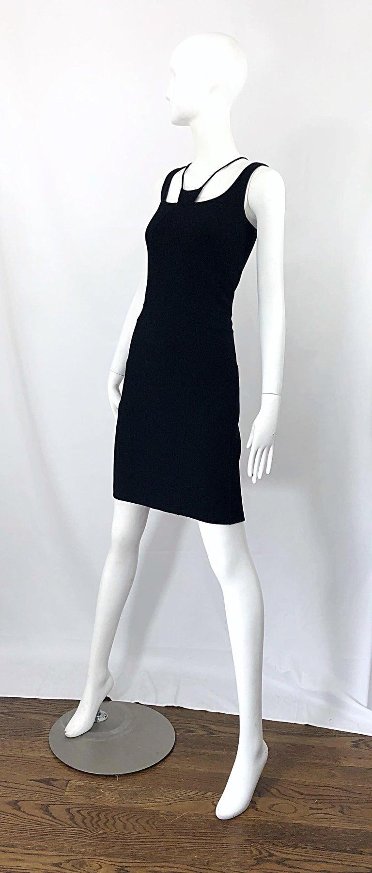 1990s Chado Ralph Rucci Rare Black Wool ' Bondage ' Vintage 90s Dress Size 4  For Sale 3