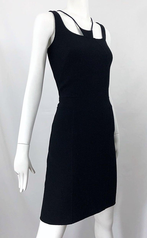 1990s Chado Ralph Rucci Rare Black Wool ' Bondage ' Vintage 90s Dress Size 4  For Sale 4