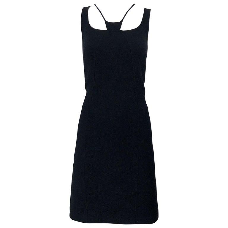1990s Chado Ralph Rucci Rare Black Wool ' Bondage ' Vintage 90s Dress Size 4  For Sale