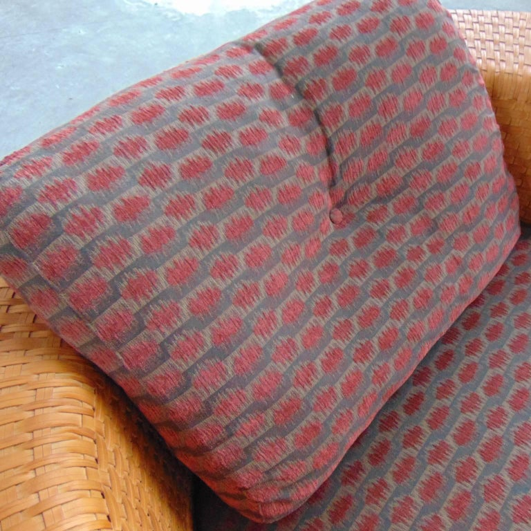Woven Leather Daybed with Dark Red Cushion by Bonacina, Italy, 1990s For Sale 5
