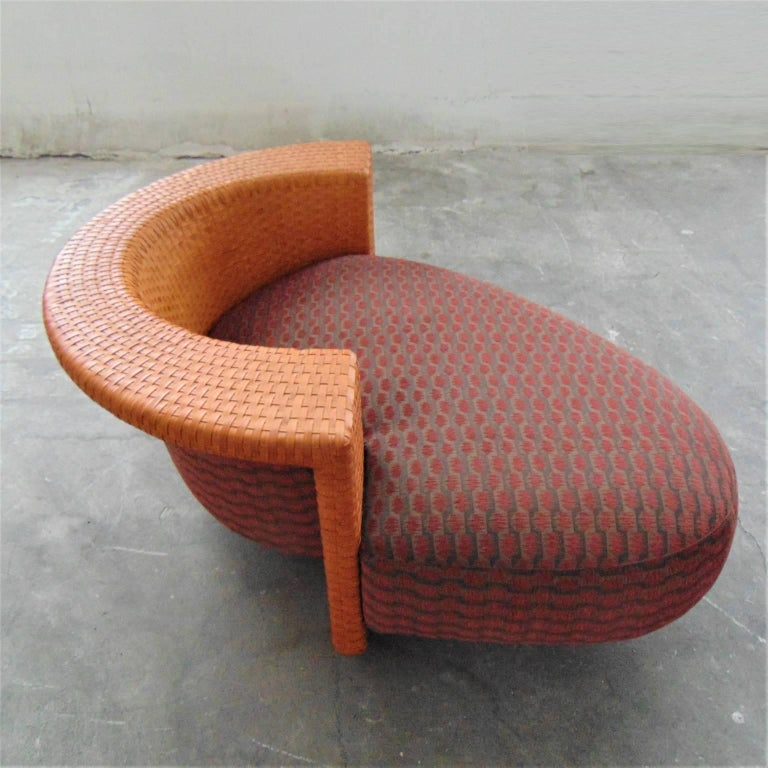 Woven Leather Daybed with Dark Red Cushion by Bonacina, Italy, 1990s For Sale 1