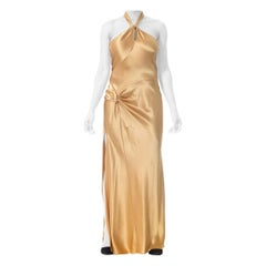 1990S Champagne Silk Charmeuse Gown