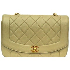 1990s Chanel Beige Leather Diana Bag