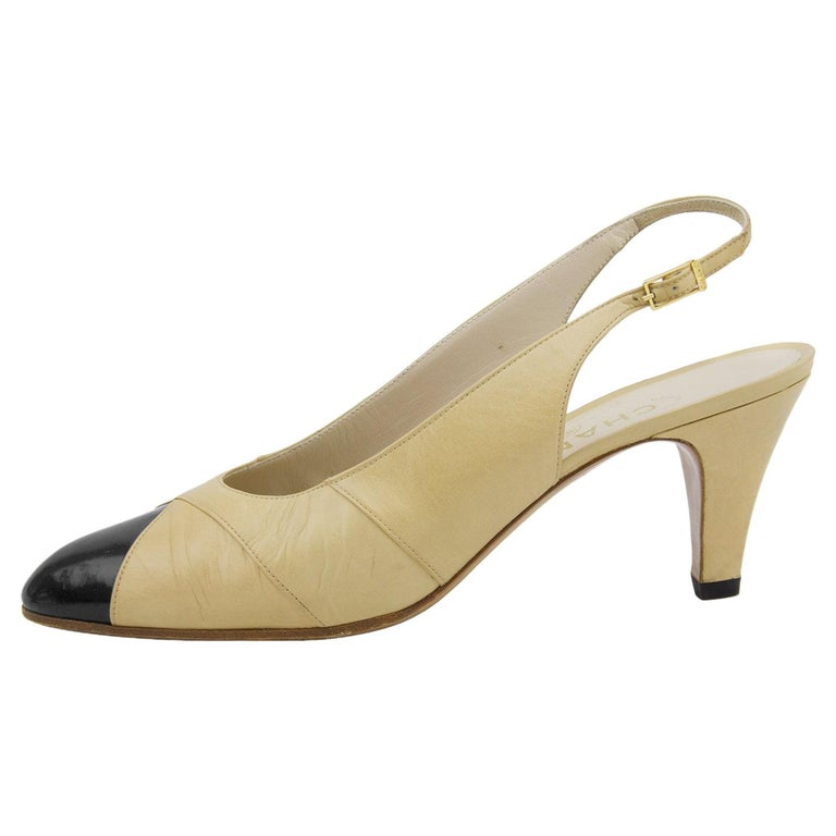 1990s Chanel Beige Leather Sling Back Heels with Black Patent Leather Cap Toe  For Sale