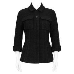 1990s Chanel Black Boucle Jacket