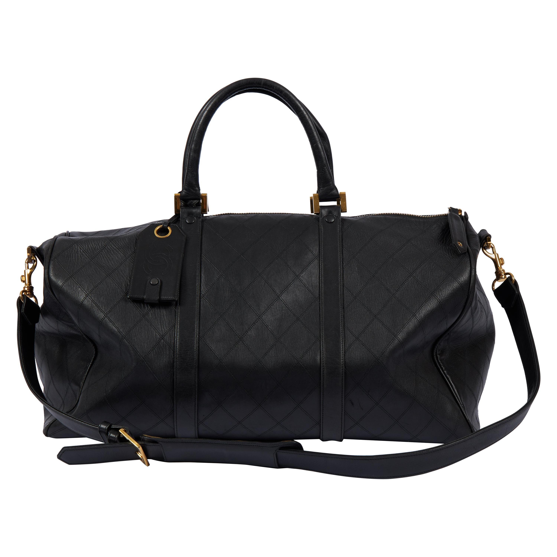 1990's Chanel Black Flat Diamond Keepall Luggage Bag