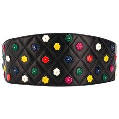 1990s Chanel Black Flowers Belt