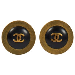 1990's Chanel Black & Gold Earrings
