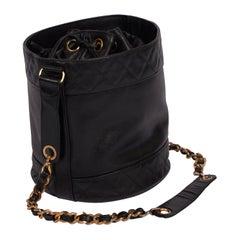 1990's Chanel Black Iconic Lambskin Leather Bucket Bag